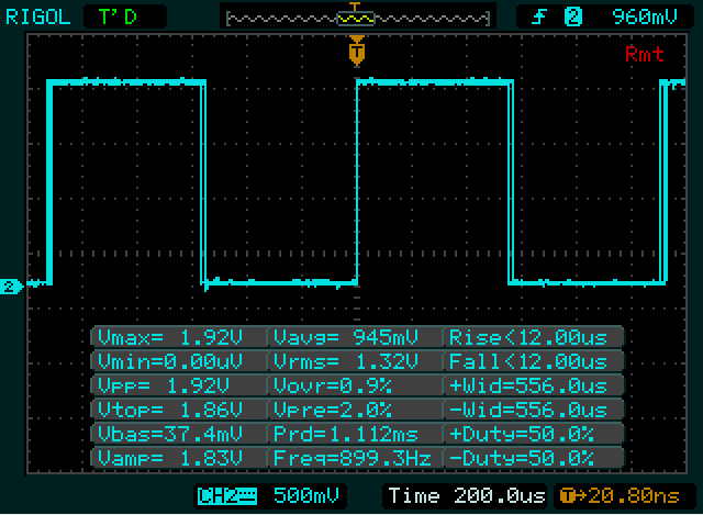 A 50% duty cycle (attempted) on a 1KHz frequency PWM. Actual duty cycle at 50%. No problems.